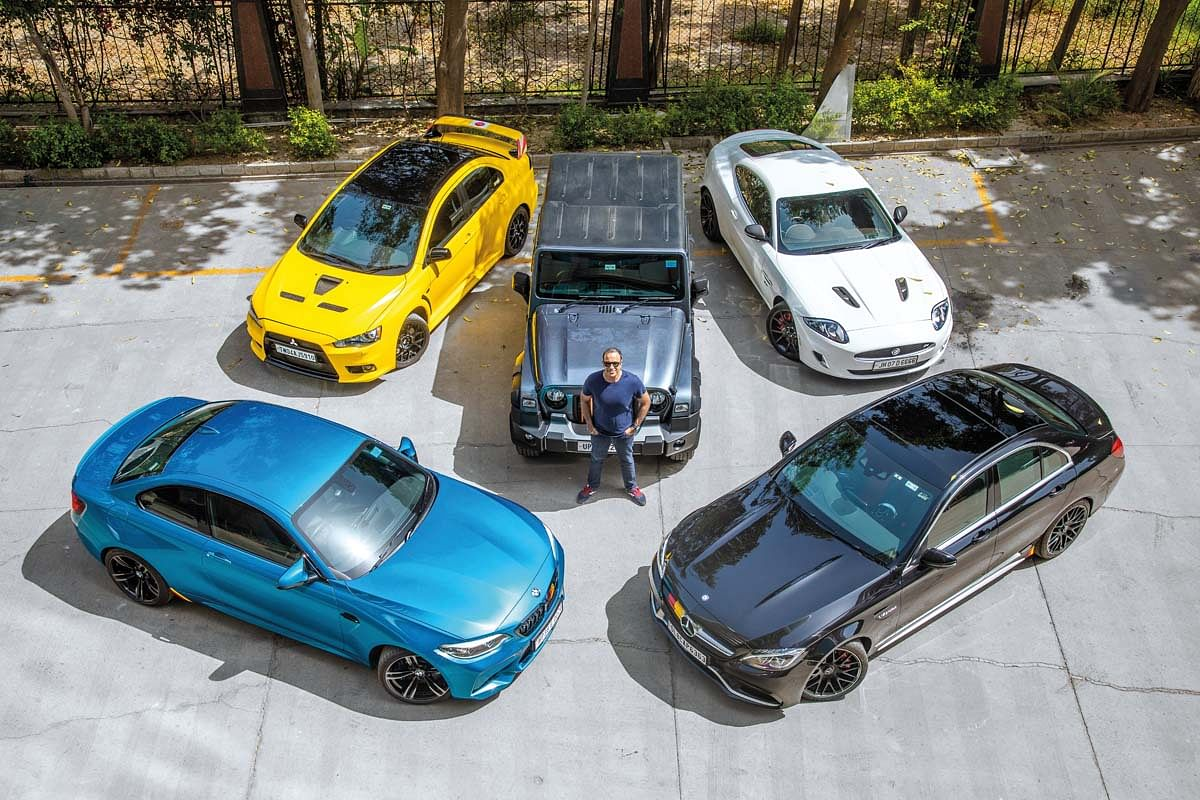 Goldy Nagdev with his incredible lineup of cars
