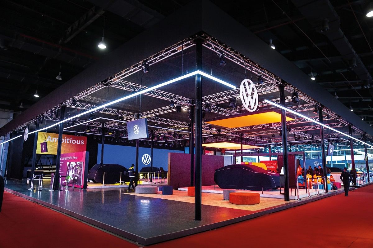 Volkswagen's colorful pavilion at the Auto Expo 2020