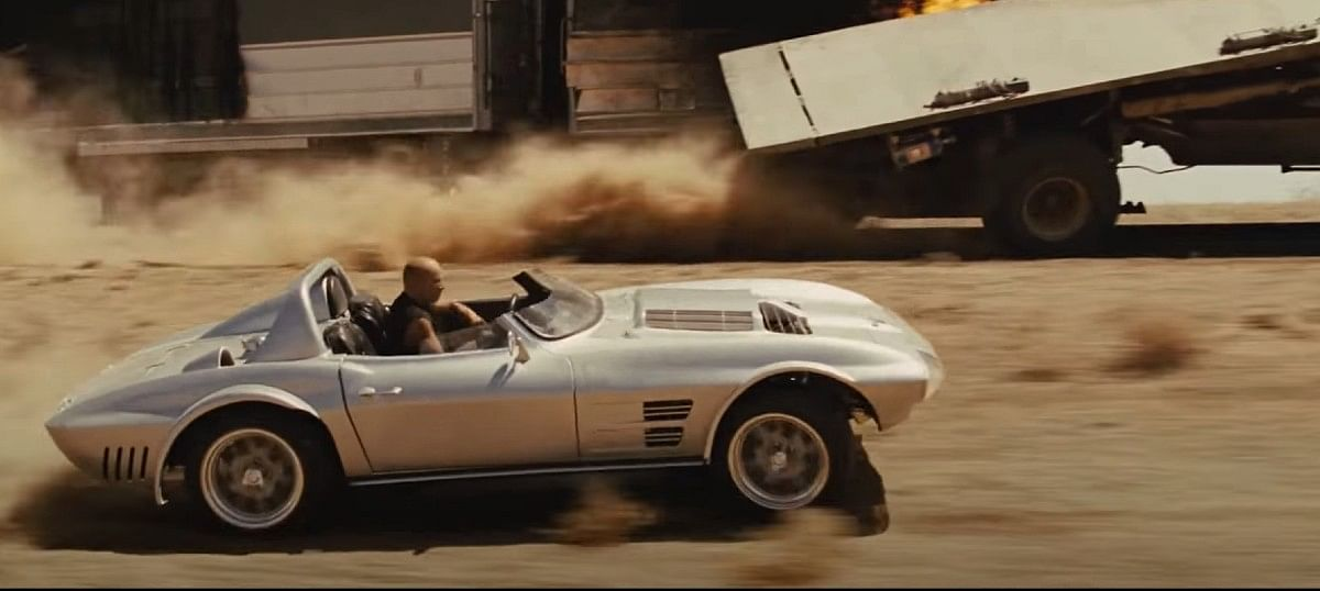 Chevrolet Corvette Stingray just before the stunt in Fast Five