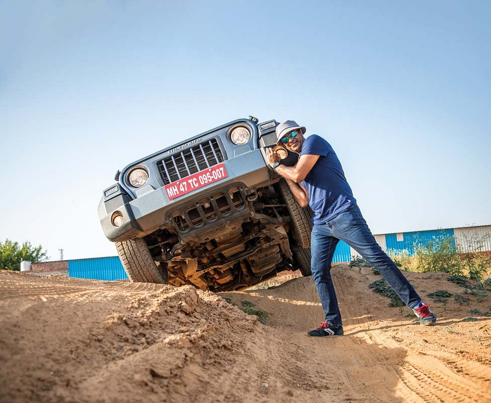 """It was unstoppable,"""" Goldy said, fired up with adrenaline, having just guided the Thar out of a menacing looking ditch"""