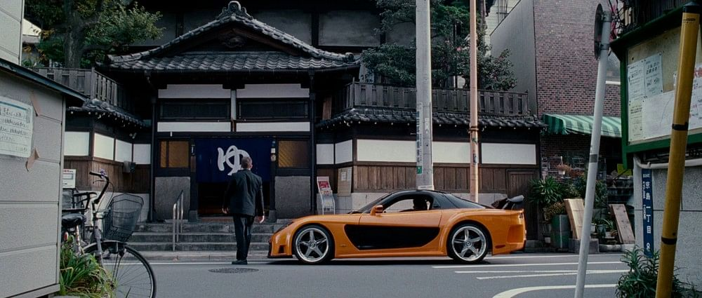 The iconic Veilside Mazda RX-7 in Tokyo Drift