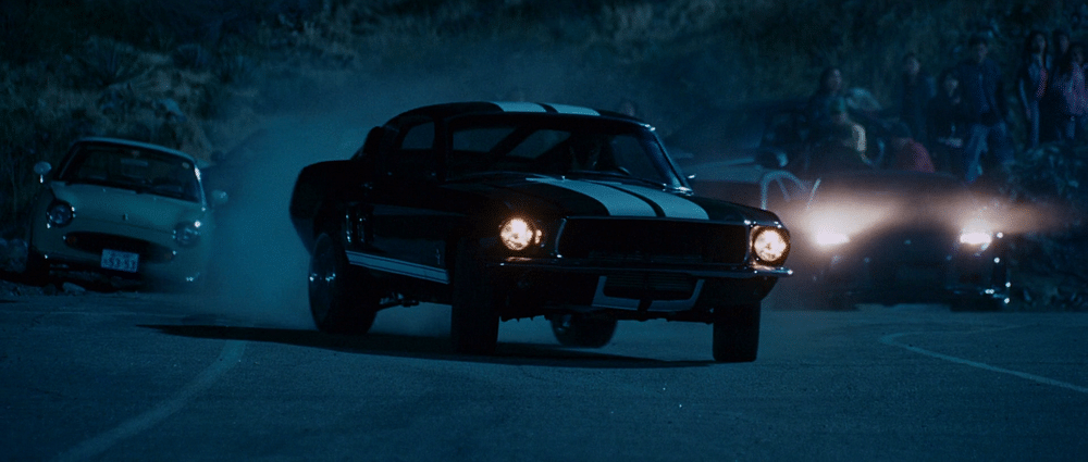 The Mustang drifting during the main race in Tokyo Drift