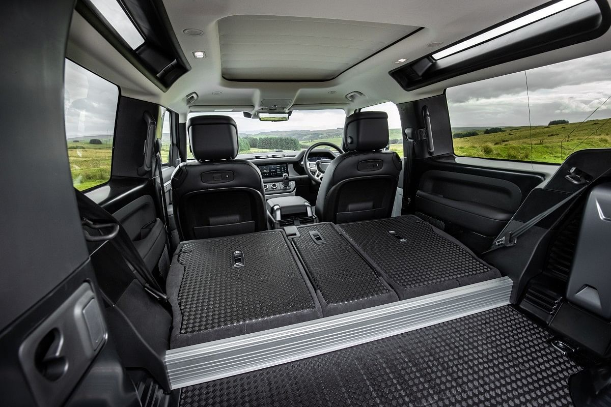 The Defender 90 can seat six people but the seats can also be folded flat for extra luggage