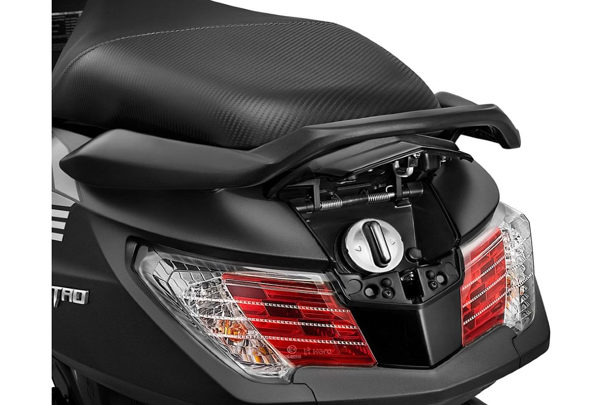 Tail lights on the new Hero Maestro Edge 125 remain unchanged but external fuel filler is standard across all variants
