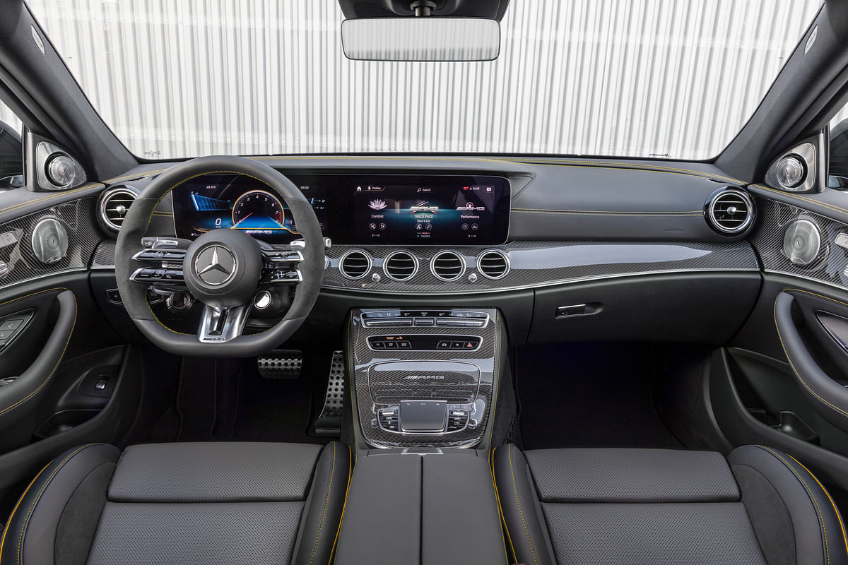 The AMG steering wheel is a highlight of the AMG interior package
