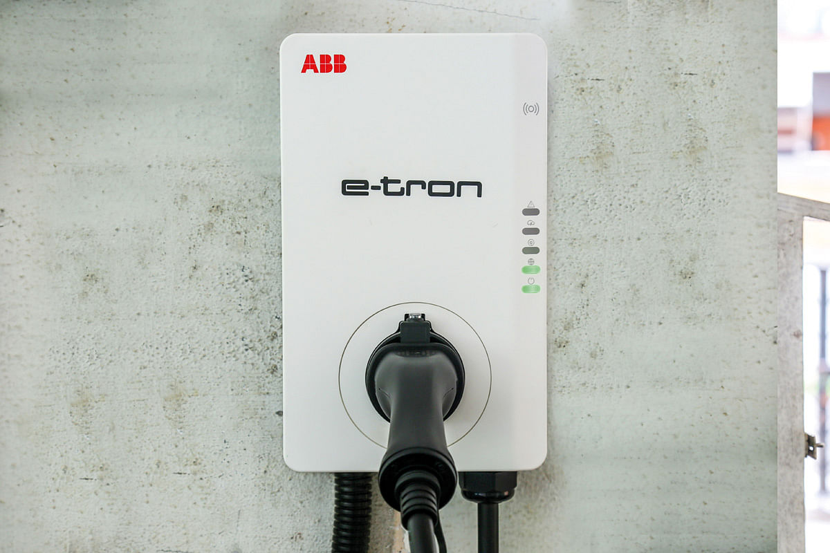 the etron hub will estimate the current range, nearest charging station, and even savings