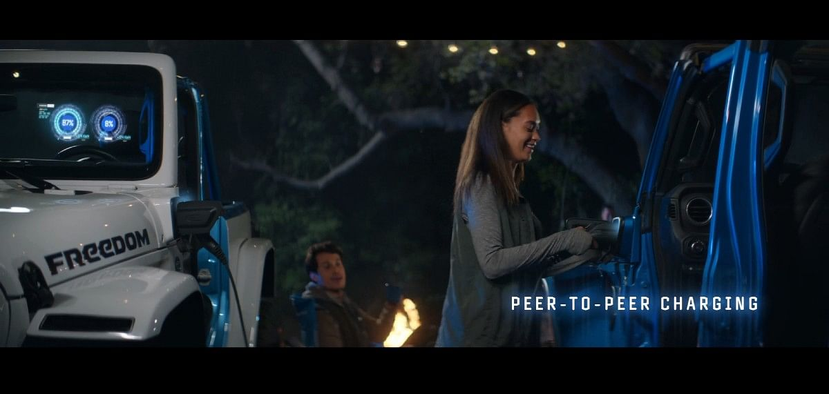 peer-to-peer charging tech can help transmit charge from on Jeep to another