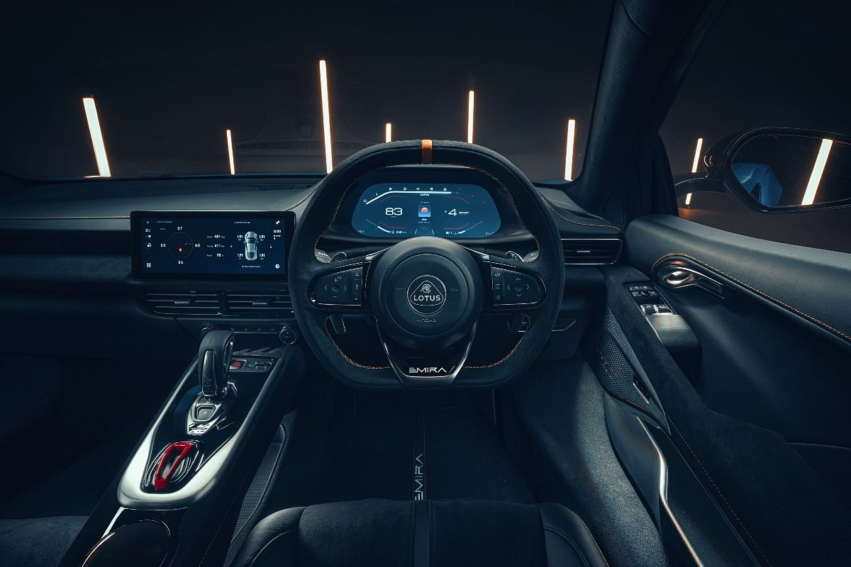 12.3-inch TFT instrument cluster and 10.25-inch touchscreen infotainment system on the Emira