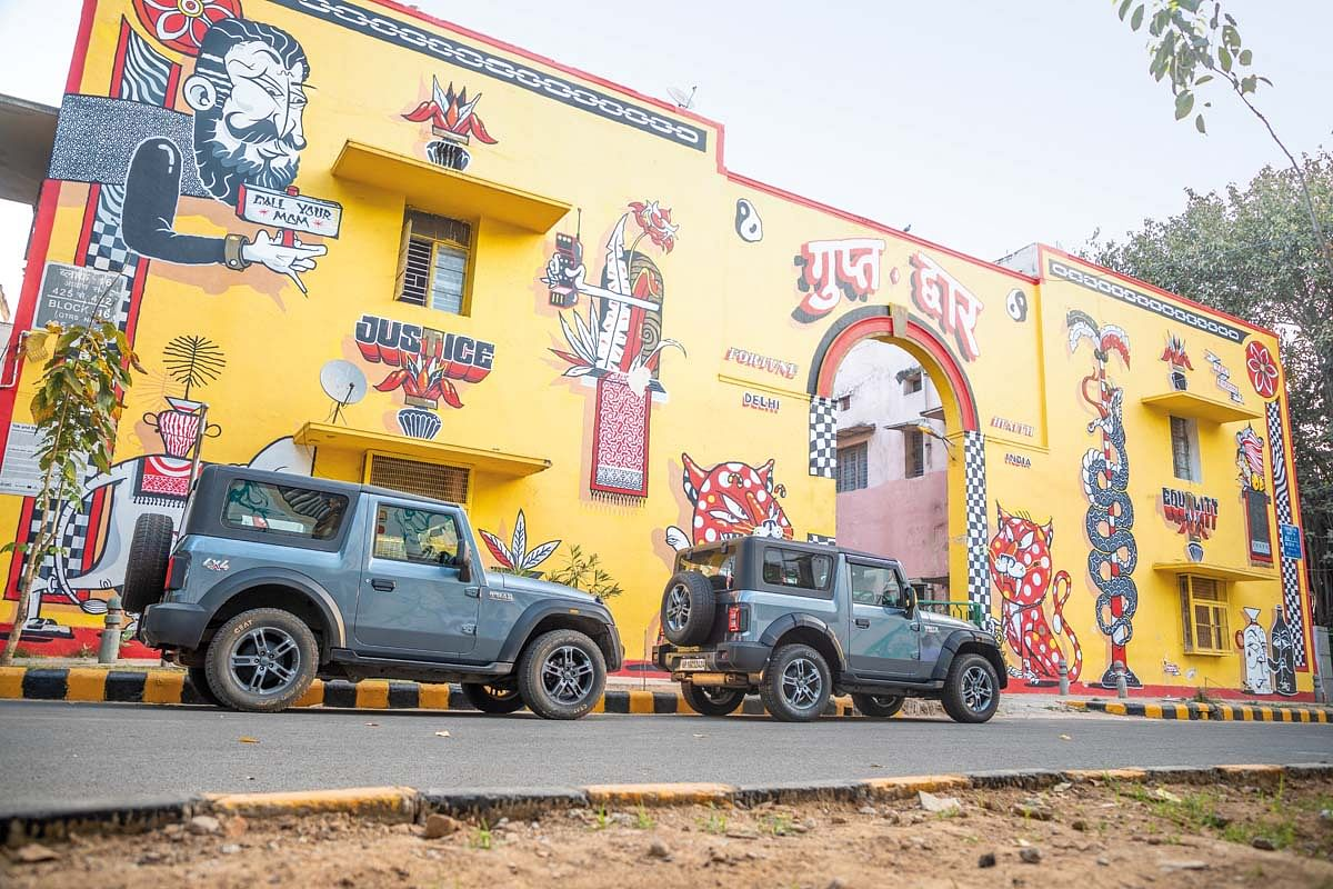 Goldy's Mahindra Thar meets the Mahindra Dventure Thar that he would eventualluy drive off-road