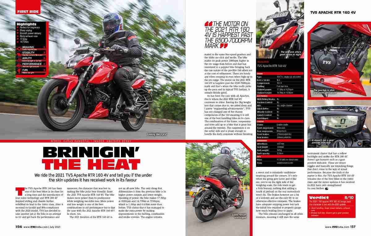 The Apache RTR 160 4V gets a mid-life update