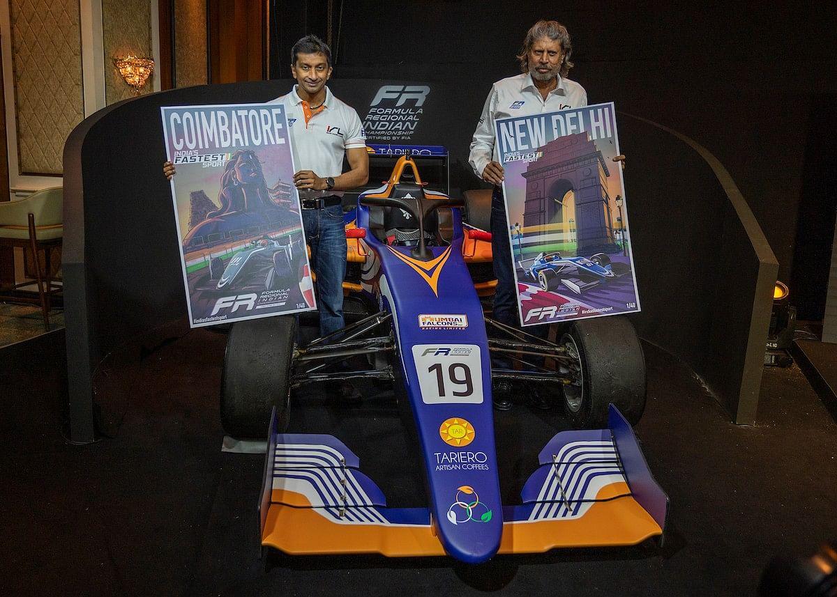 F1 racer Narain Karthikeyan and former India cricketer Kapil Dev at Formula Regional India championship launch event