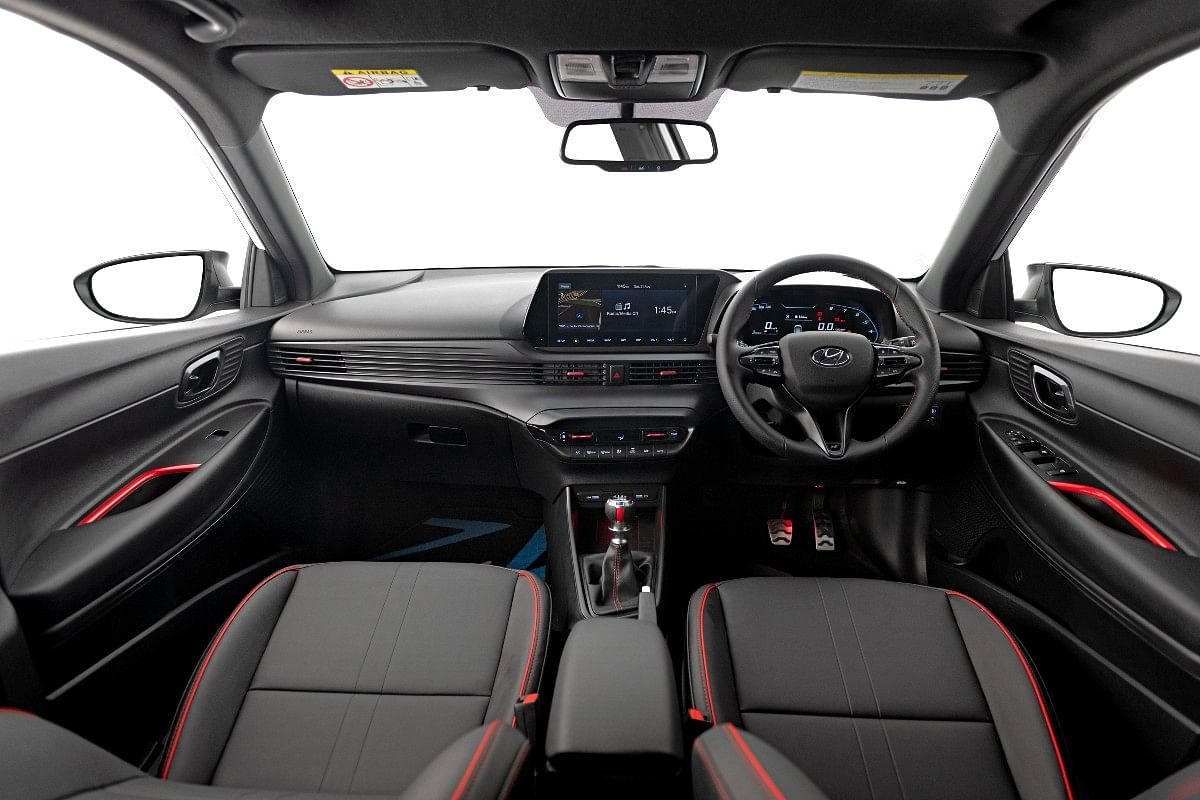 Red highlights present on the interiors of the Hyundai i20 N Line