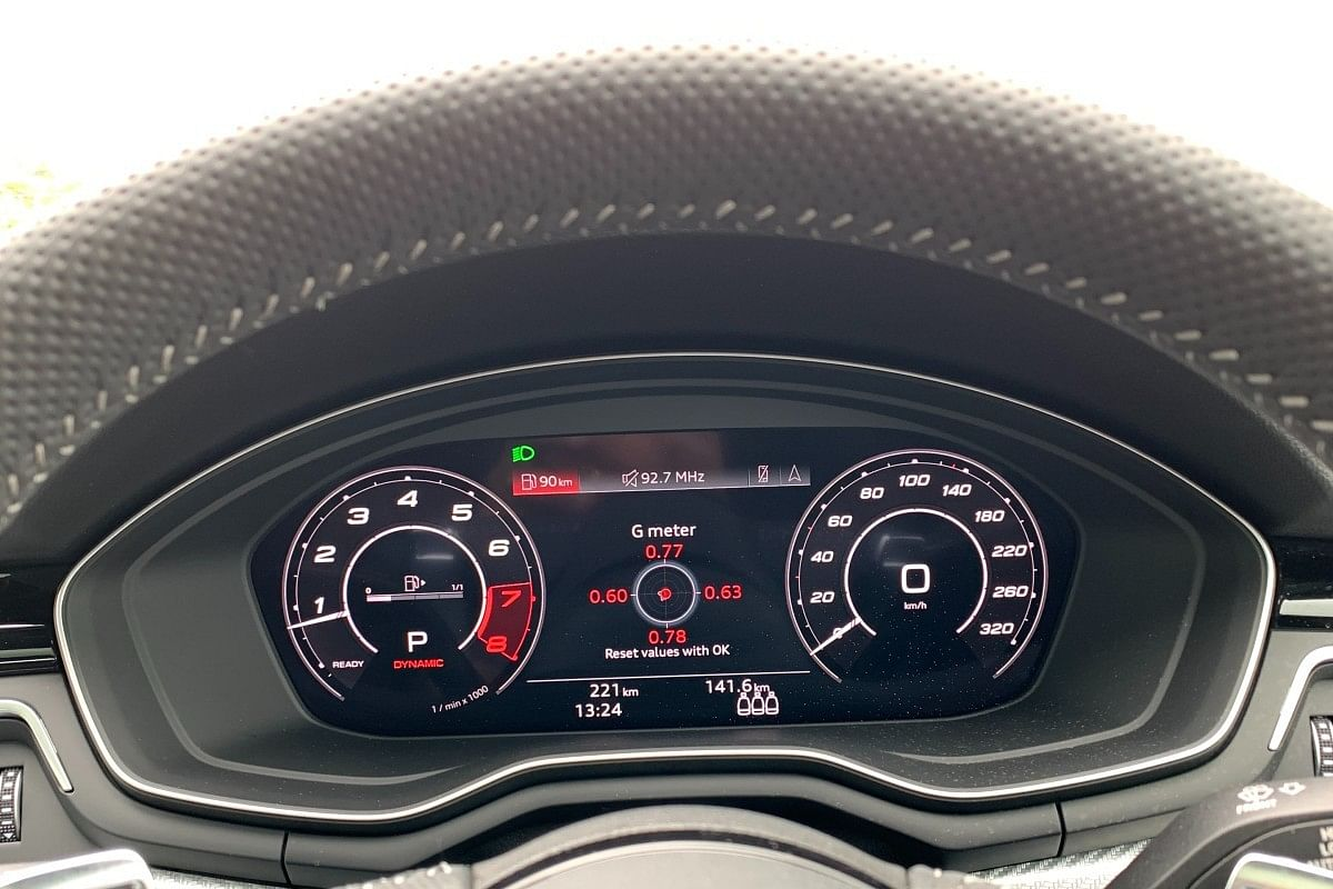 The RS 5 Sportback gets Virtual Cockpit Plus, featuring a G-force readout as well