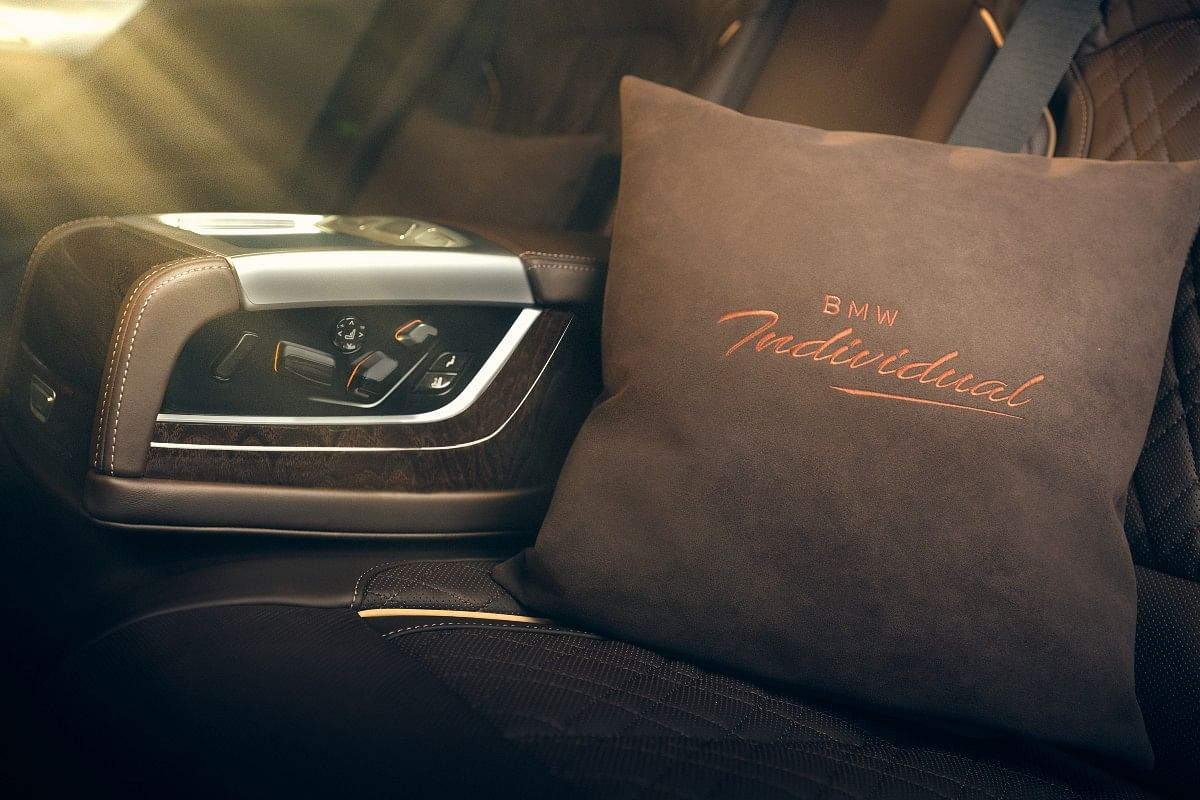 Customised embroidery on the headrest and cushions is one of the bespoke interior options on the Individual 7 Series