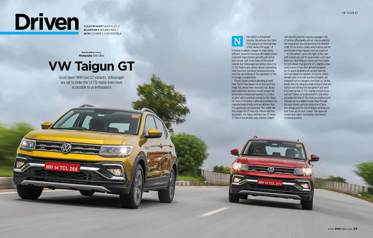 The VW Taigun, like the Kushaq, gets the option of a 1- or 1.5-litre TSI engine