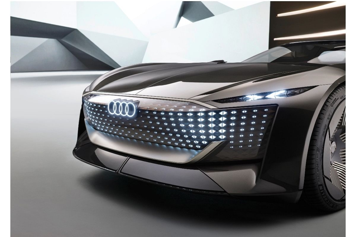 The front 'grille' receives  LED lighting with animation and also features a backlit Audi logo