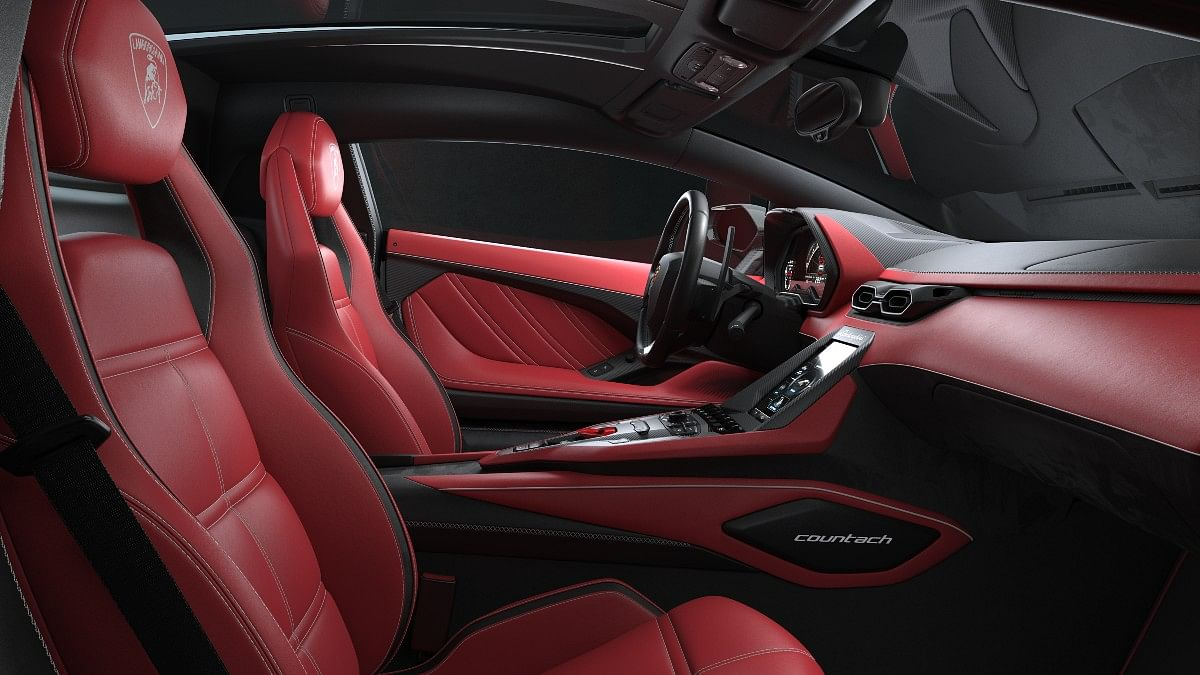 The rich red and black leather interior