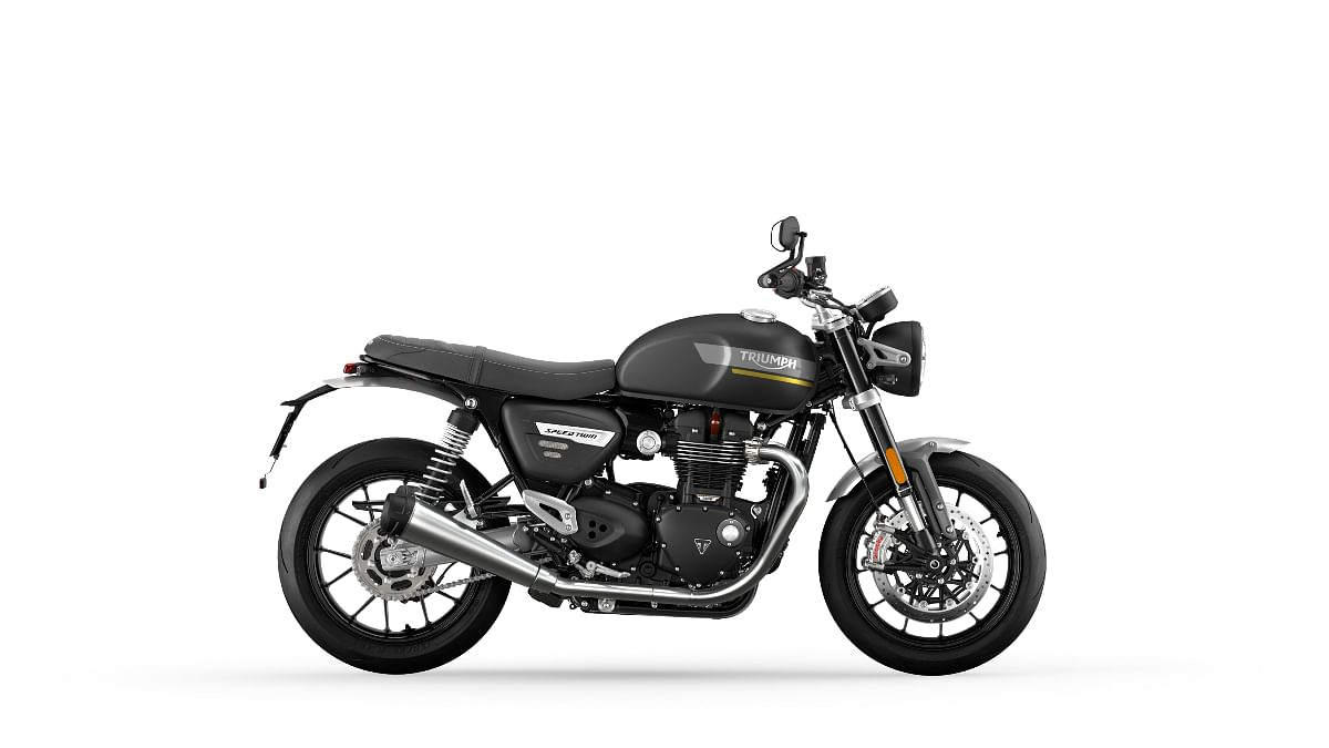 Triumph Bonneville Speed Twin in Matte Storm Grey with yellow accents
