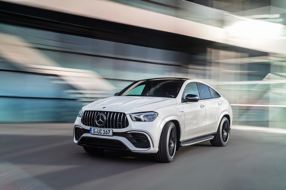The GLE 63 S Coupe features a large front Panamericana grille with the Merceds logo sitting in the centre