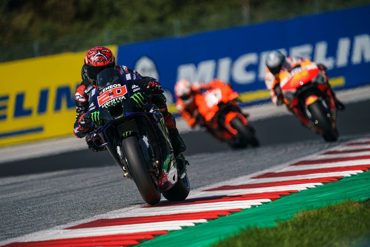 Even though Fabio Quartararo was falling down the order, he still defended each position with everything possible.