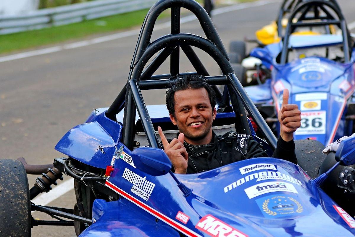 Deepak Ravikumar (Chennai) of Momentum Motorsport finished first in the first race of the Formula LGB 1300 season.