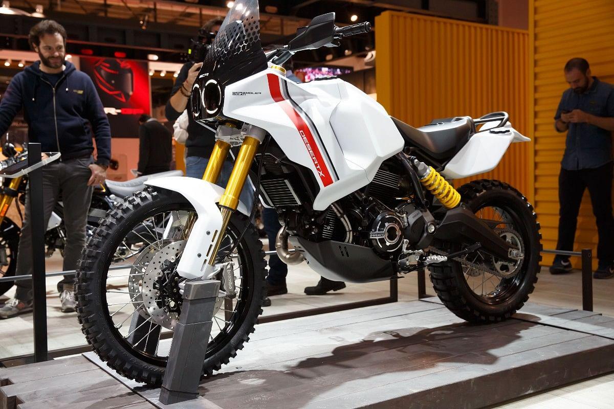 (Above) the Scrambler DesertX concept based on the Ducati Scrambler
