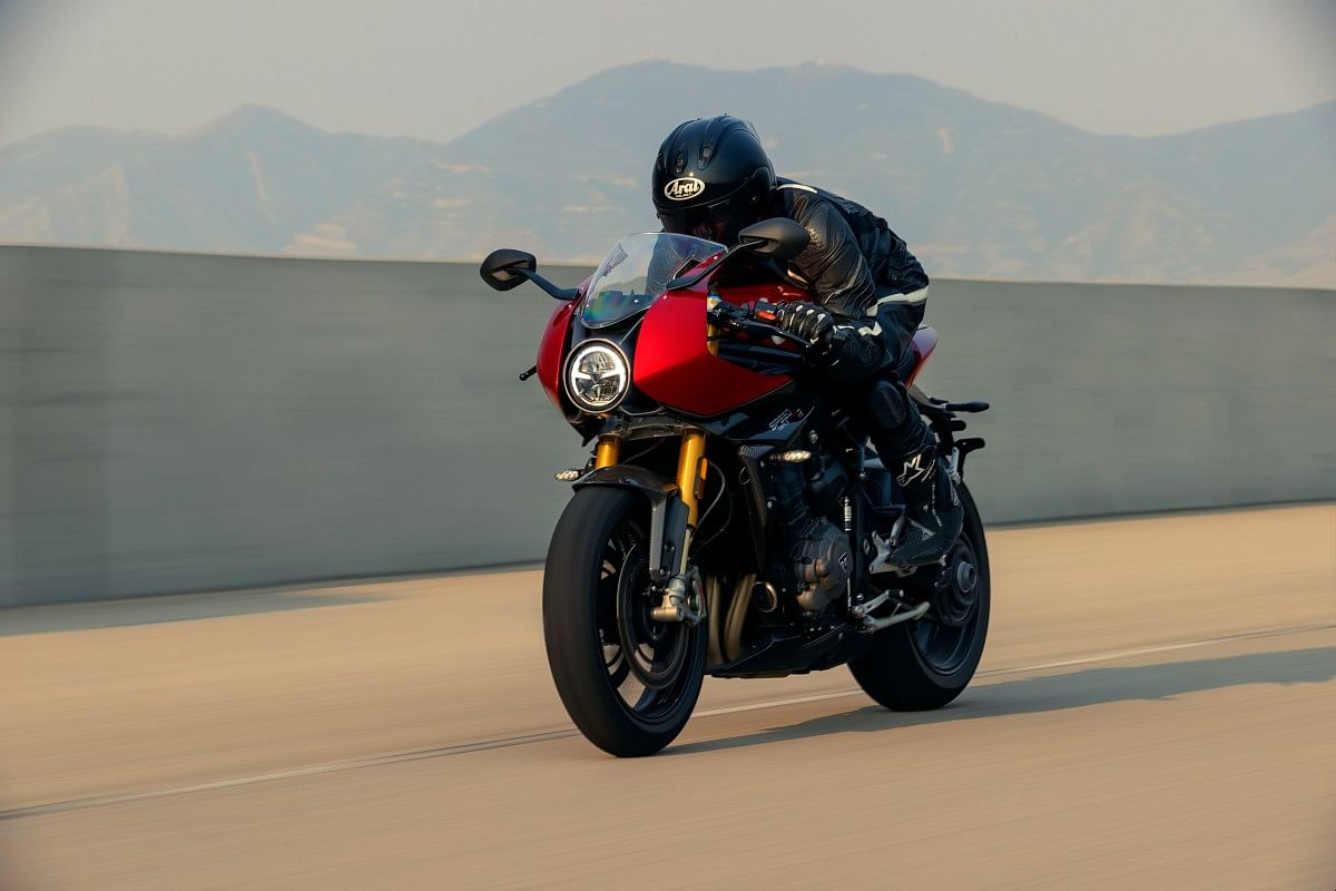 The Speed triple 1200 RR gets a partial fairing and a bubble visior