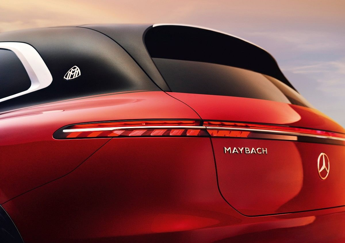 Maybach badging and single-strip LED light prominent across the rear