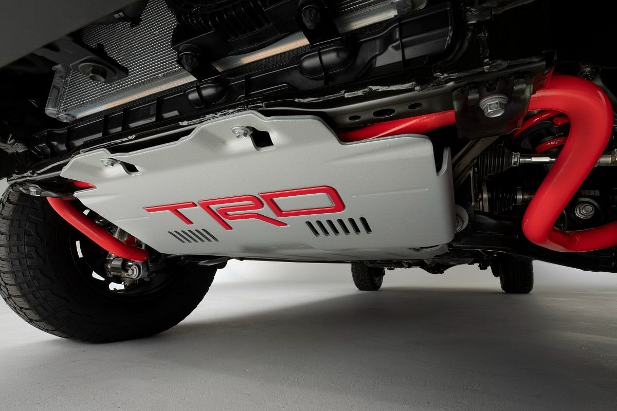 the TRD Pro kit gets a red painted suspension parts