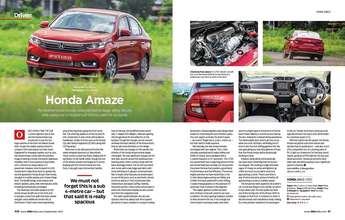 The Amaze continues to be a practical and comfortable small sedan