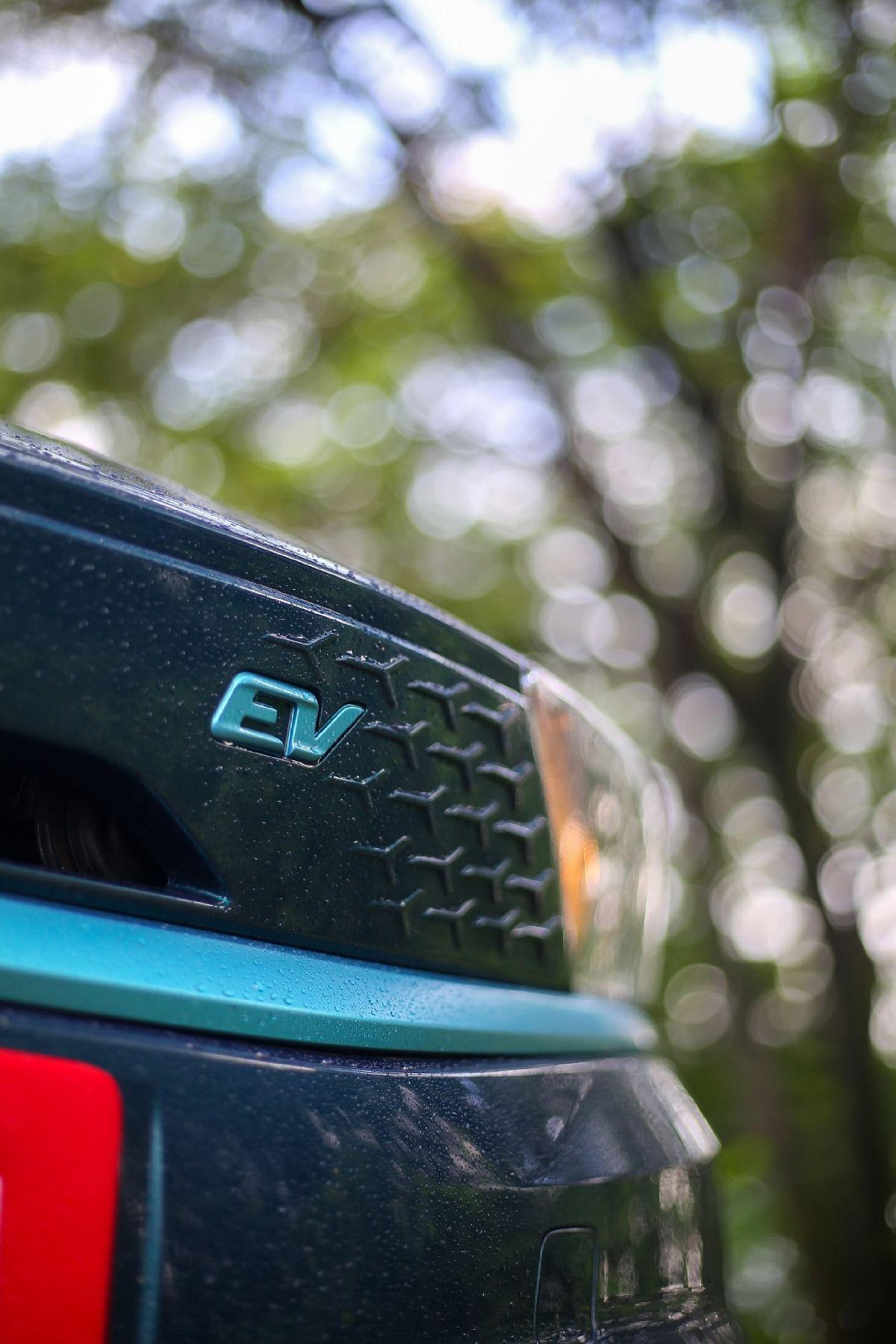 The 'grille' of the Tata Tigor EV gets the tri-arrow cutout pattern
