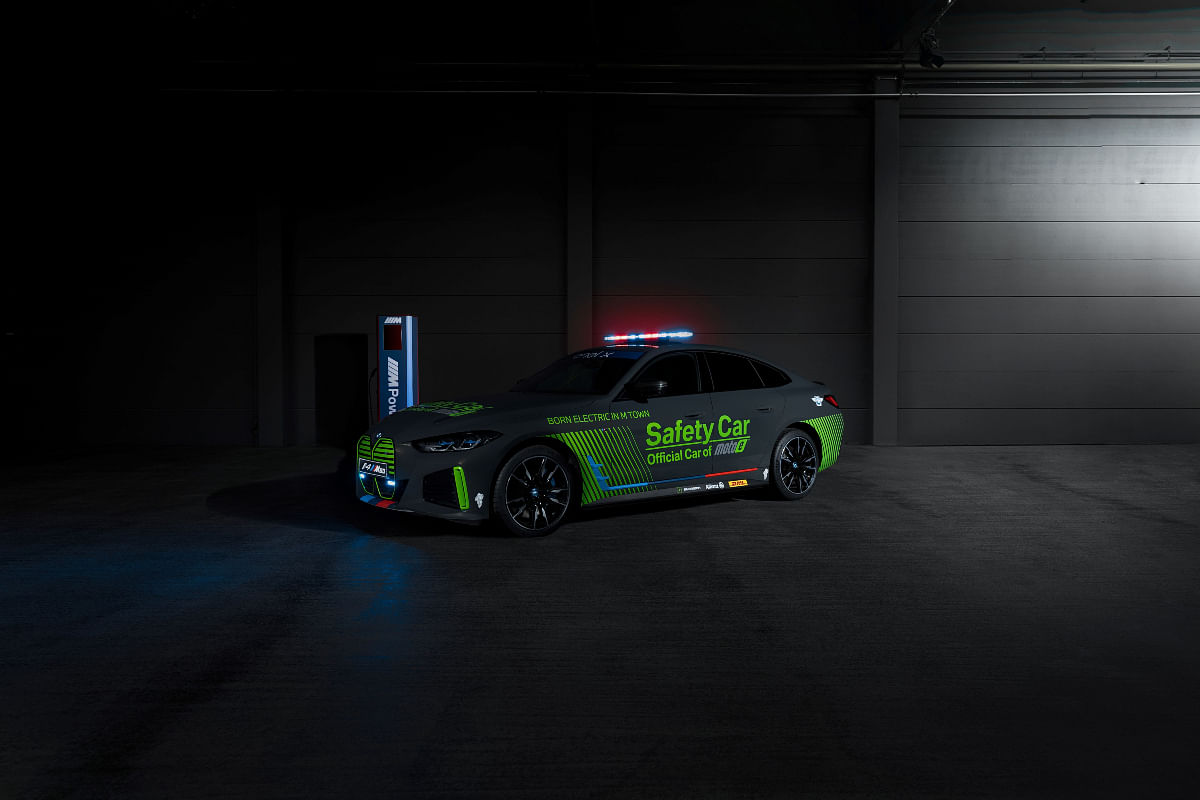 Speaking of safety, Moto E gets an all electric BMW i4 M50 as their safety car