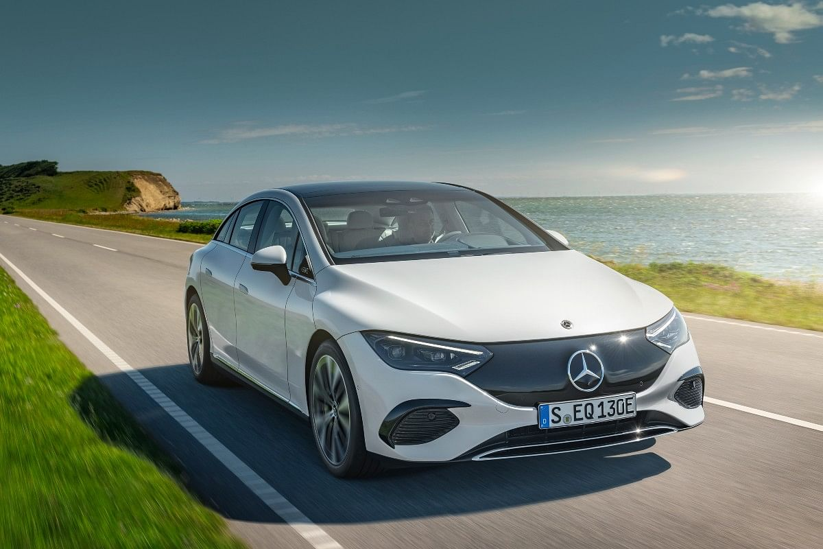 The Mercedes-Benz EQE resembles the EQS, but gets a slightly smaller wheelbase