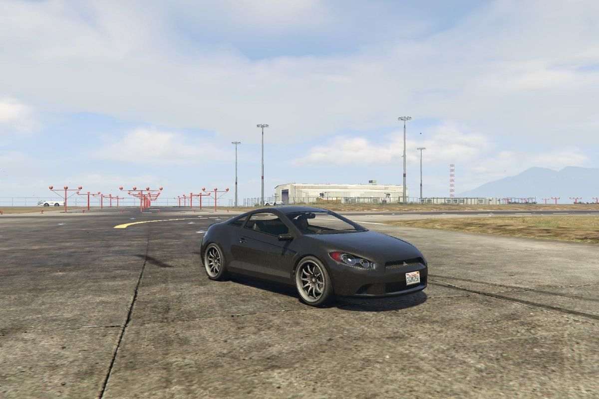 Maibatsu made its first appearance in GTA 5. This particular car is the Penumbra, based on the Mitsubishi Eclipse