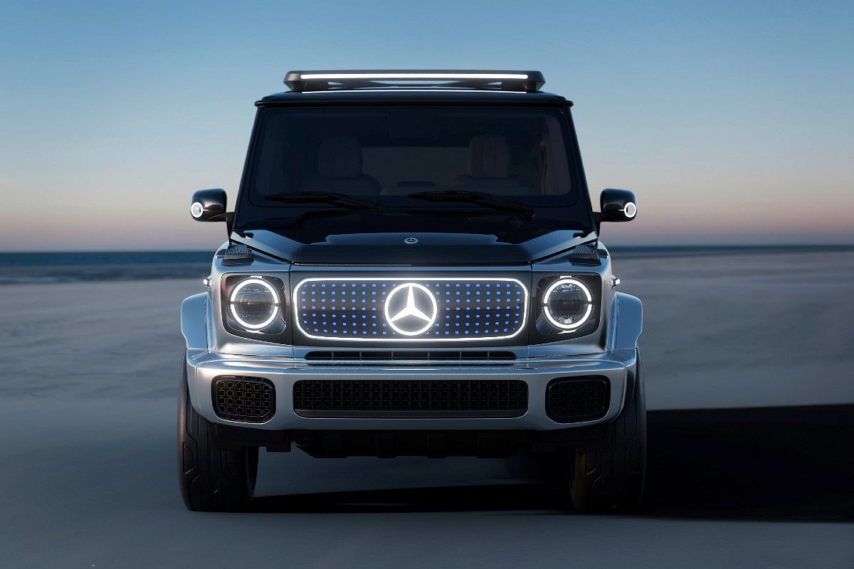Traditional grille on the EQG has been ditched in favour of an LED panel with the illuminated Mercedes logo