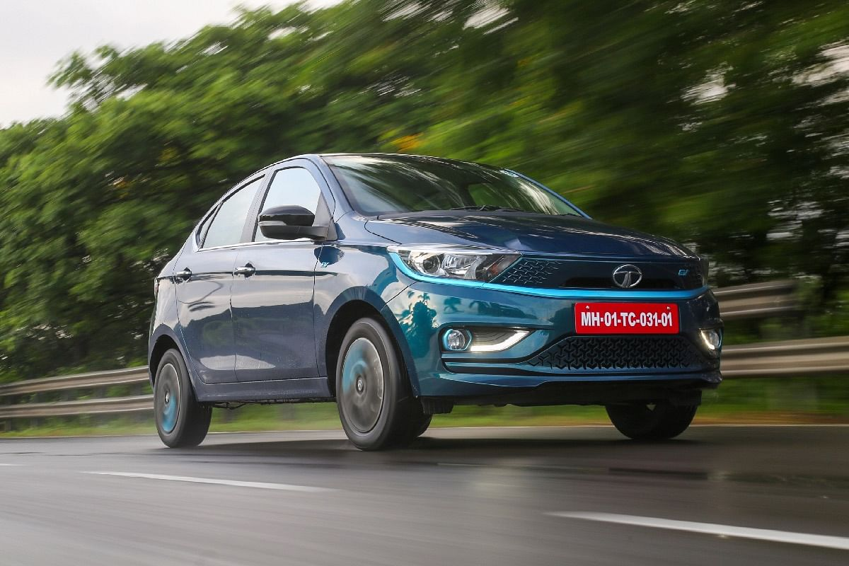The blue accents running throughout the body make sure the Tigor EV stands out from the standard Tigor