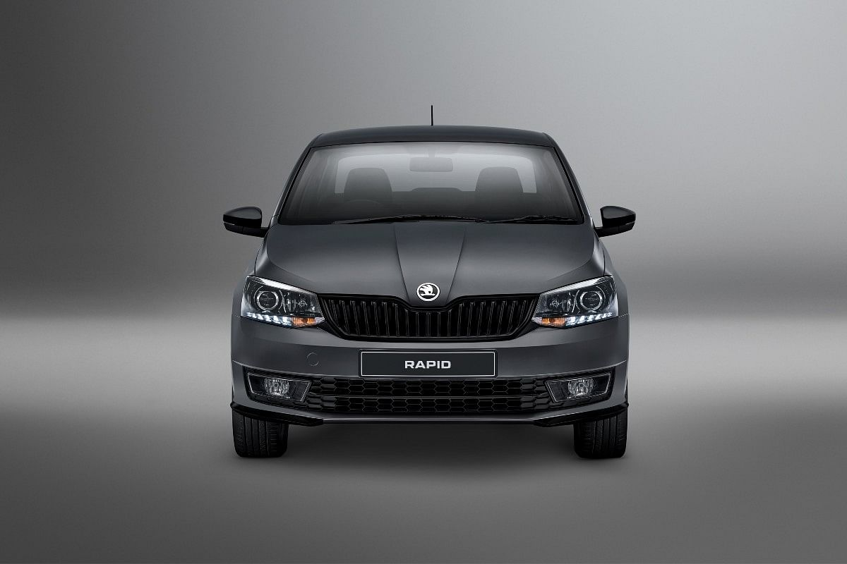 The Skoda Rapid Matte Limited Edition gets a glossy black front grille and a front lip in the carbon steel matte colour