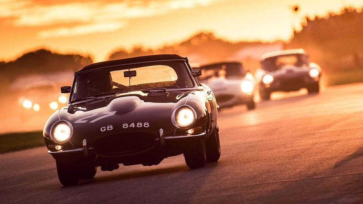 A classic car going full blast in golden hour just escalates the drama!