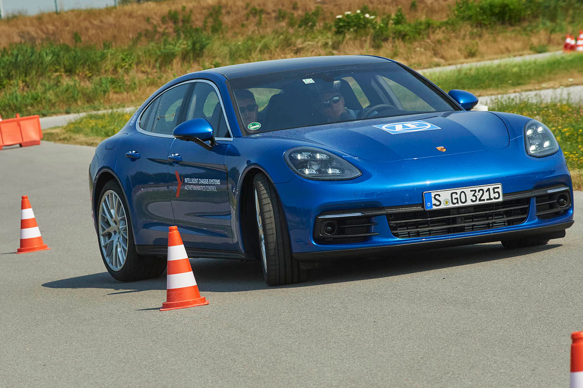 The Panamera Turbo's rear steer in action on a slalom course