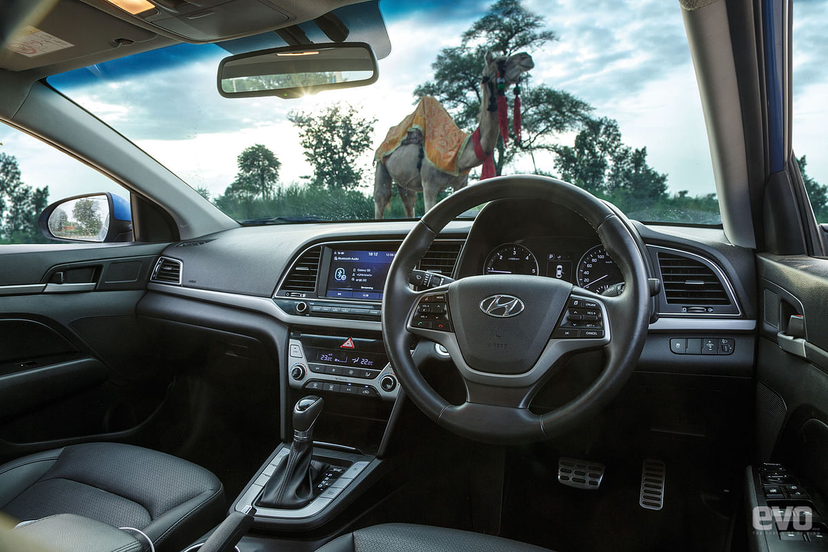The Elantra has a clean dual-toneinterior that you don't mind spending time in