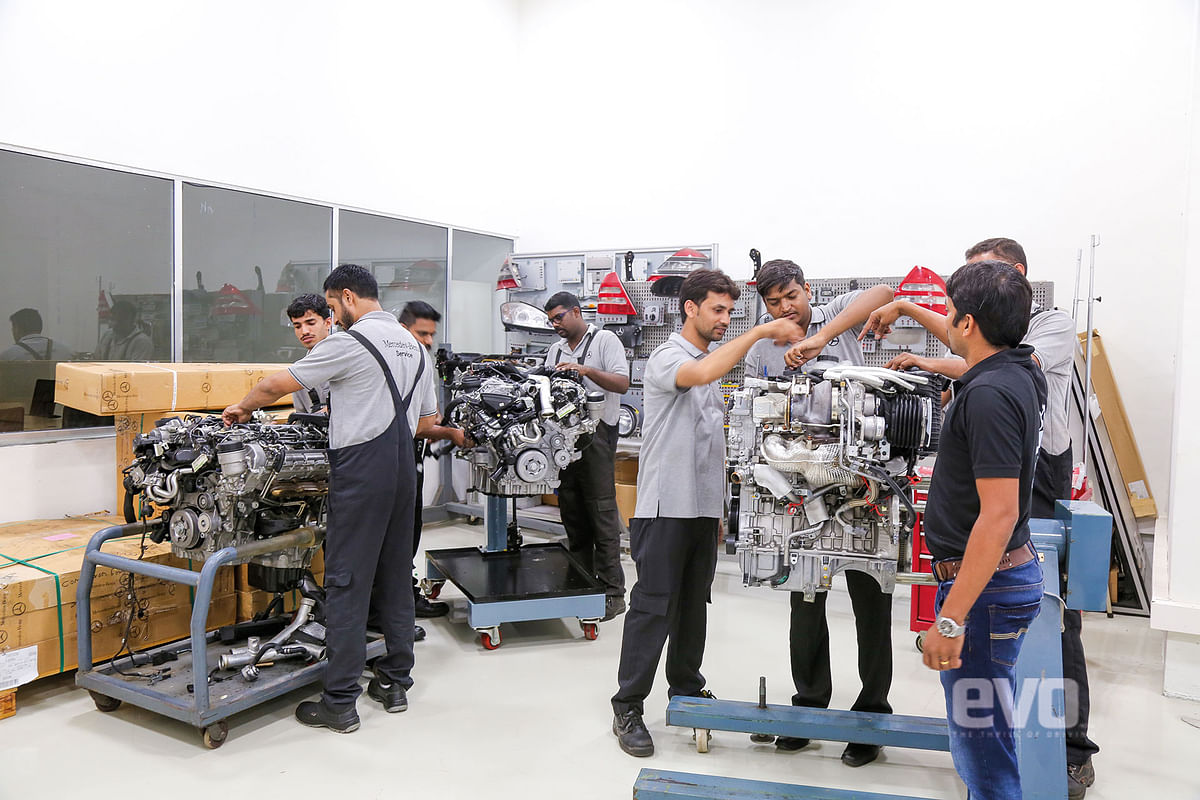 Engineers being trained on new engines at the Academy