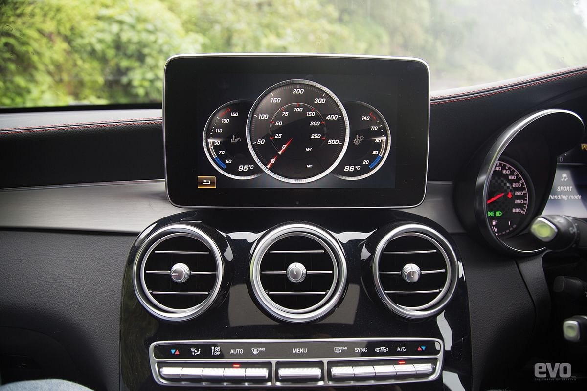 The GLC's performance gauges on the infotainment screen set the mood for spirited driving