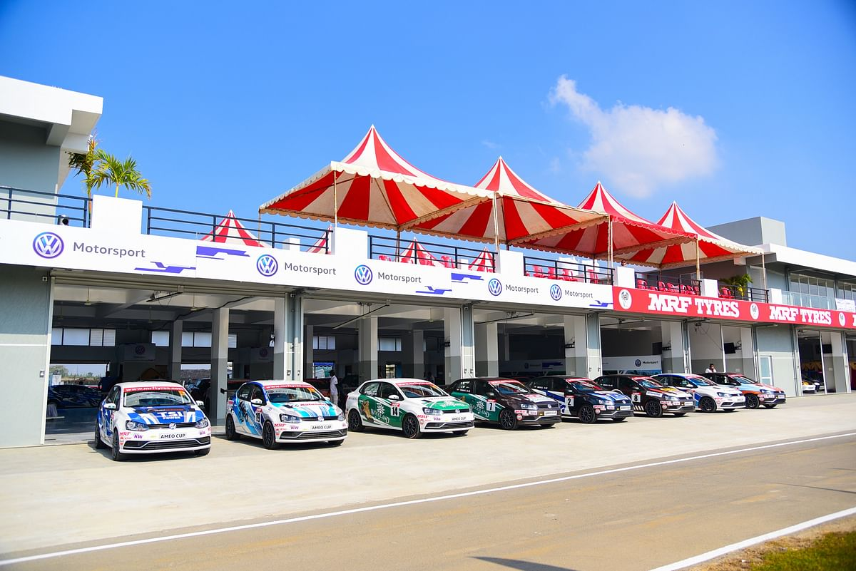Volkswagen Ameo Cup cars lined up