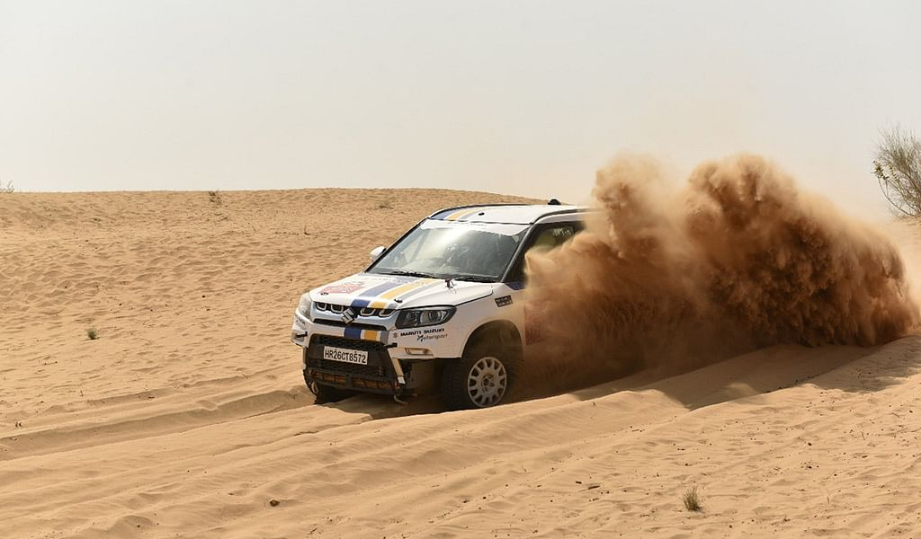 Maruti Suzuki Desert Storm Day 3: CS Santosh and Suresh Rana (PVS Murthy) crash out