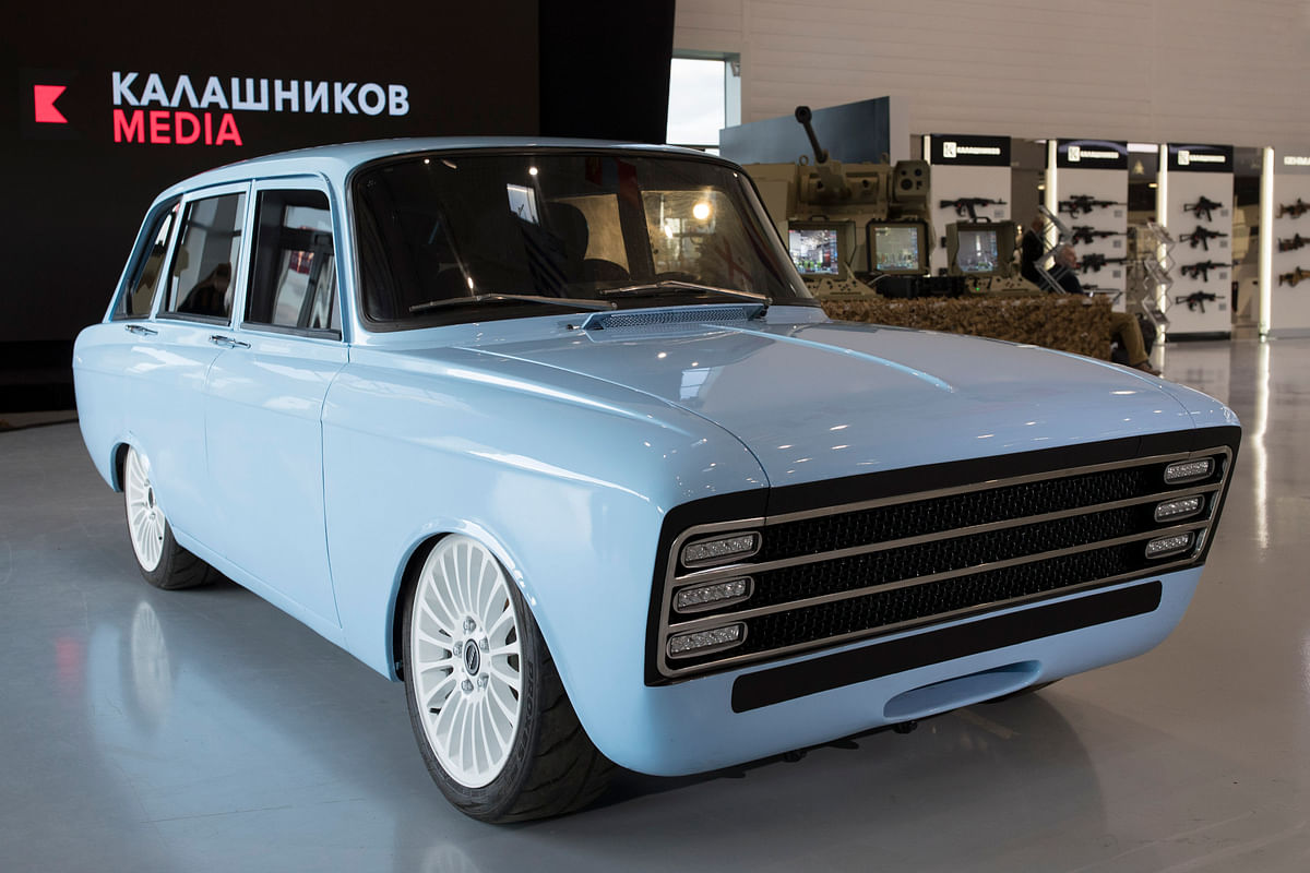 Russian firm Kalashnikov displays a new weapon, the CV-1 'electric supercar'