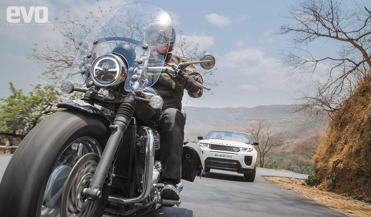Drop-top British icons – Evoque Convertible and Bonneville Speedmaster
