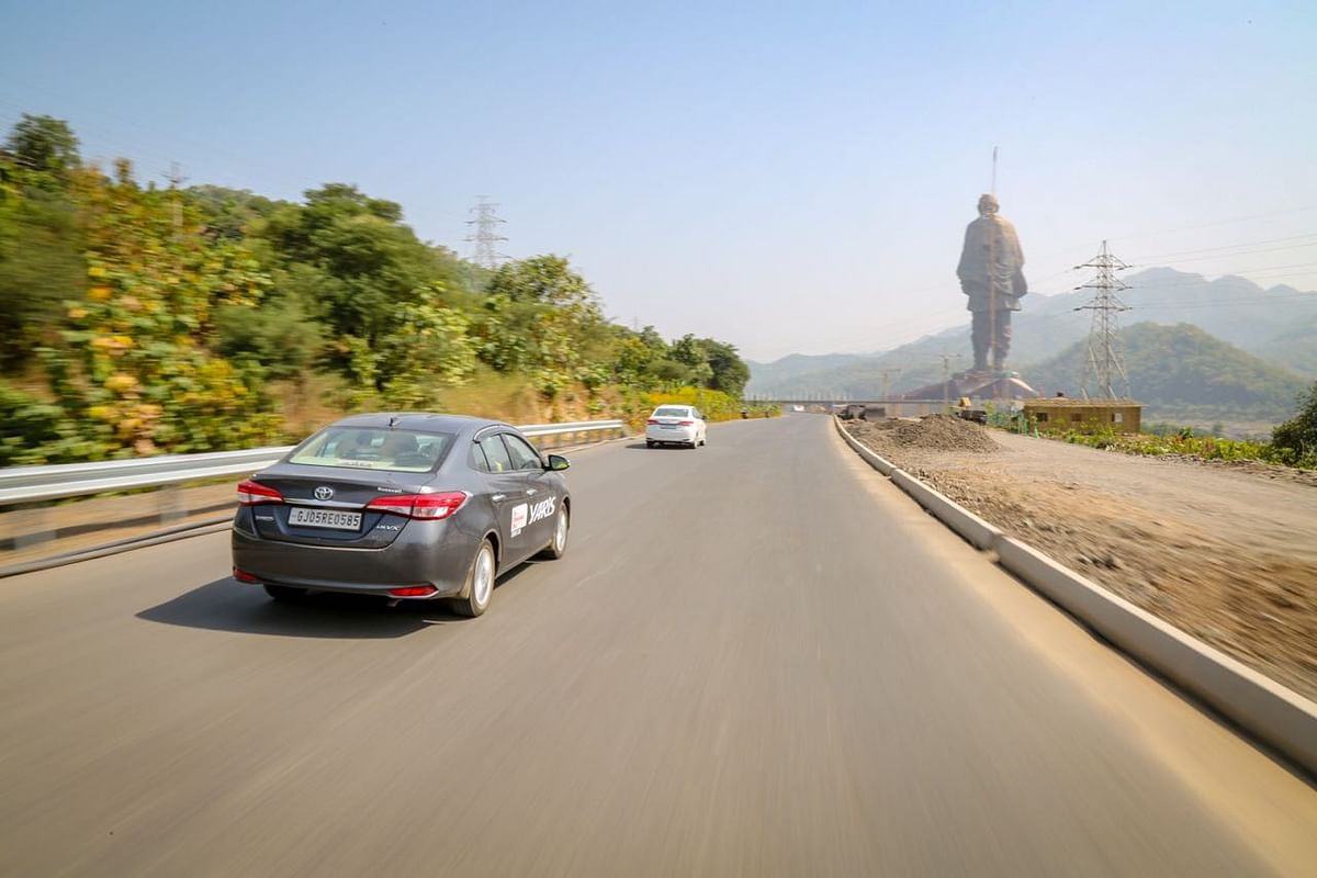 Yaris making its way to the Statue of Unity