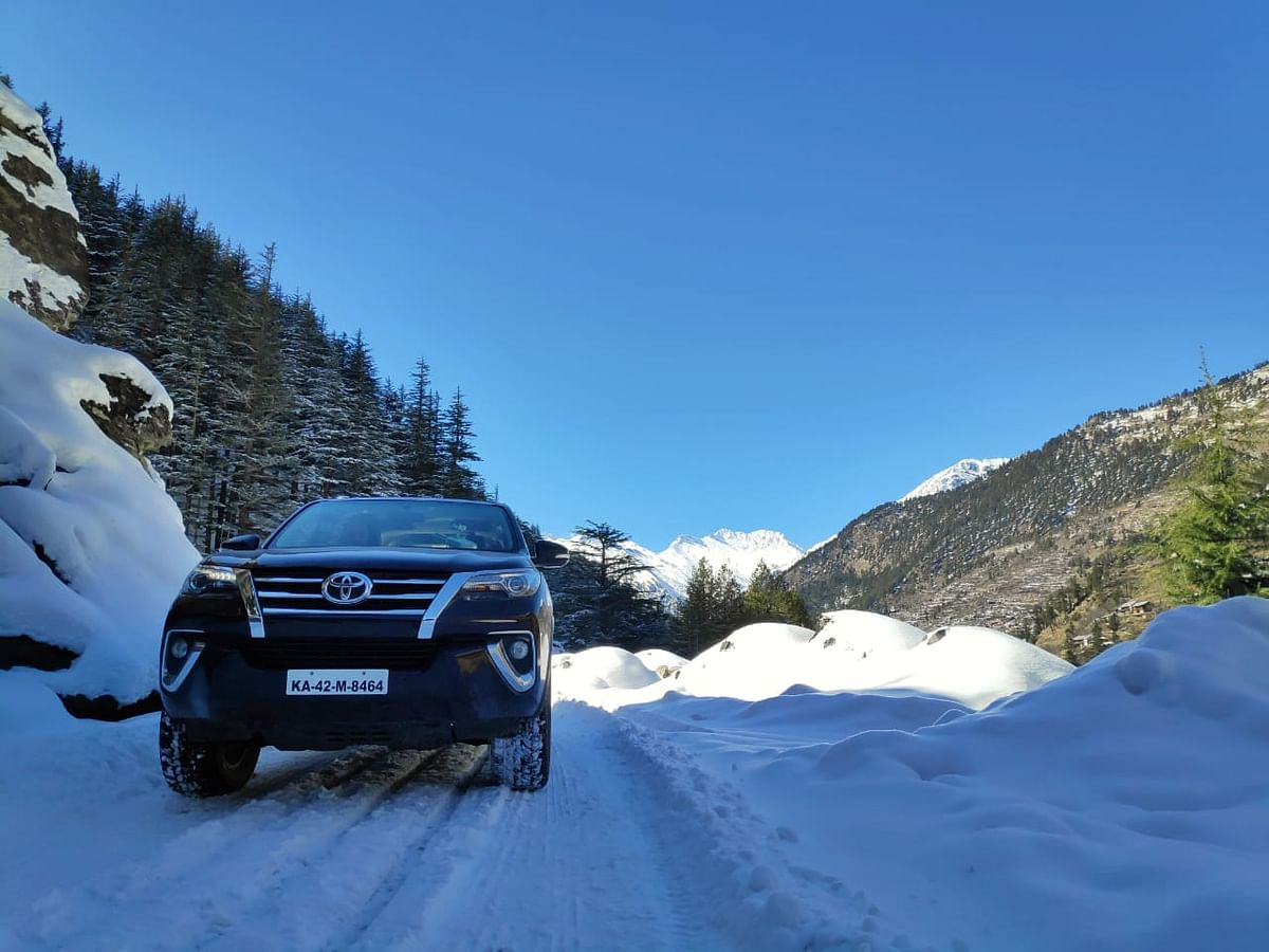 Driving the Toyota Fortuner in snow on the final day of Toyota River Drive