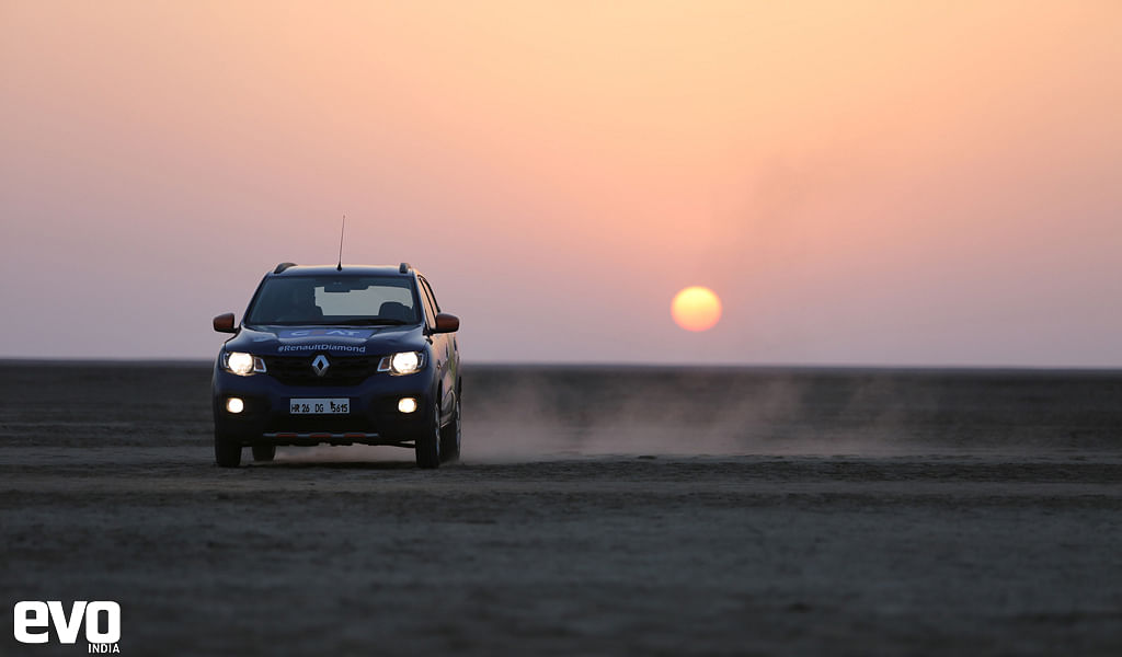 Renault kwid in the Rann of Kutch