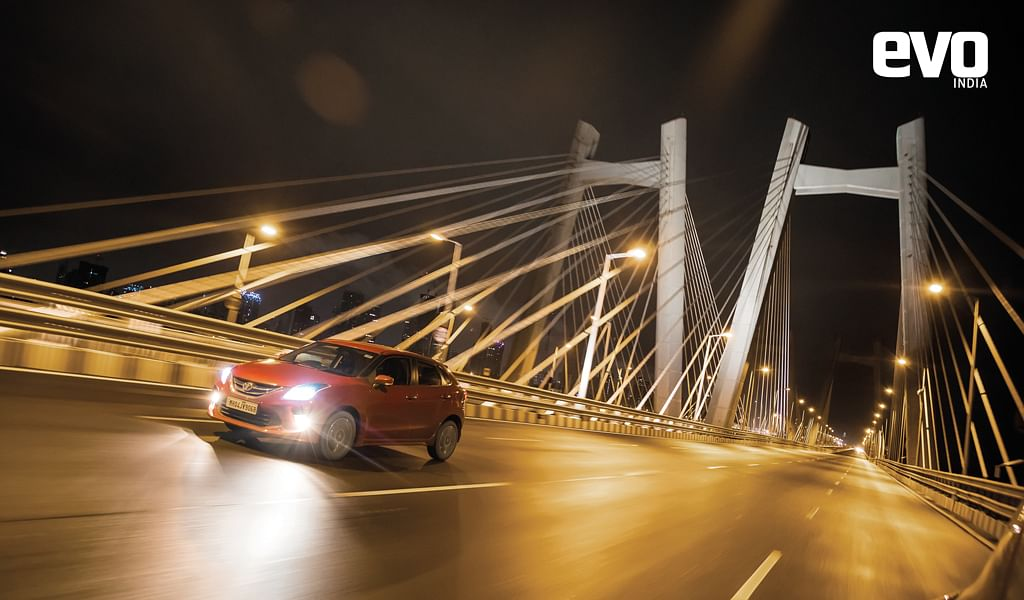 Driving the Toyota Glanza around the soothing night streets of Mumbai